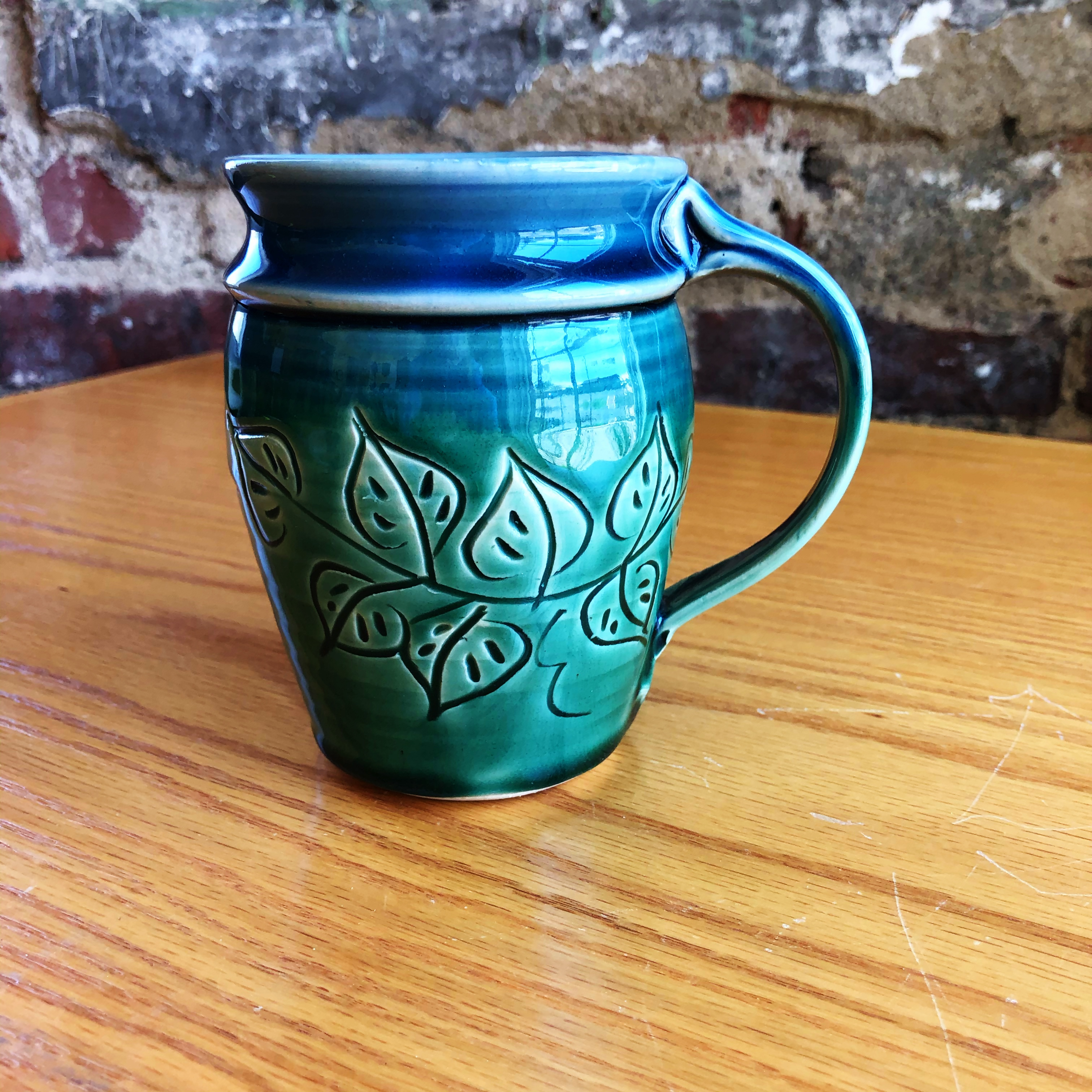 Mt Pleasant Pottery Carved Mug Style 1 Middle Davids Artisan Candles