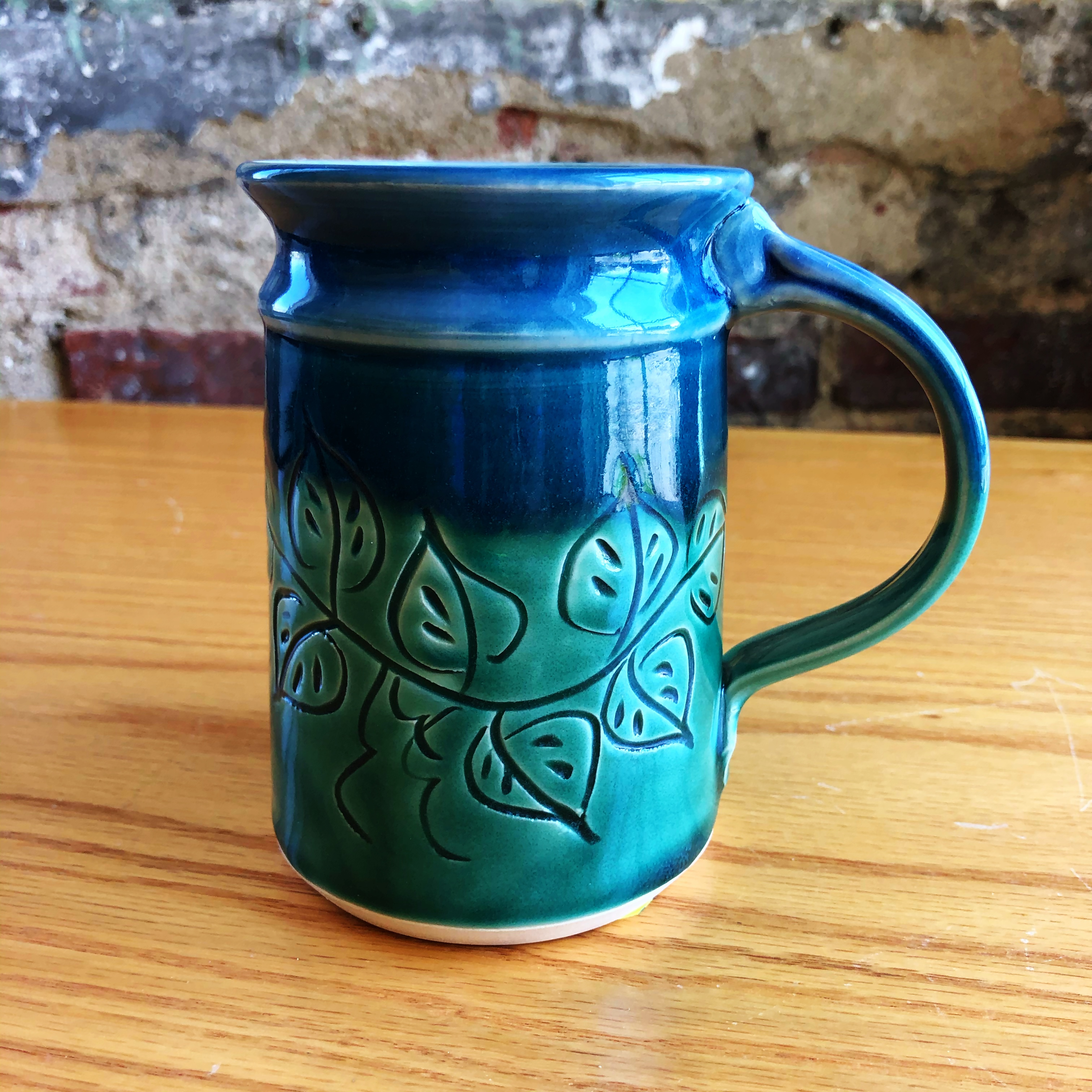 Mt Pleasant Pottery Carved Mug Style 3 Middle Davids Artisan Candles