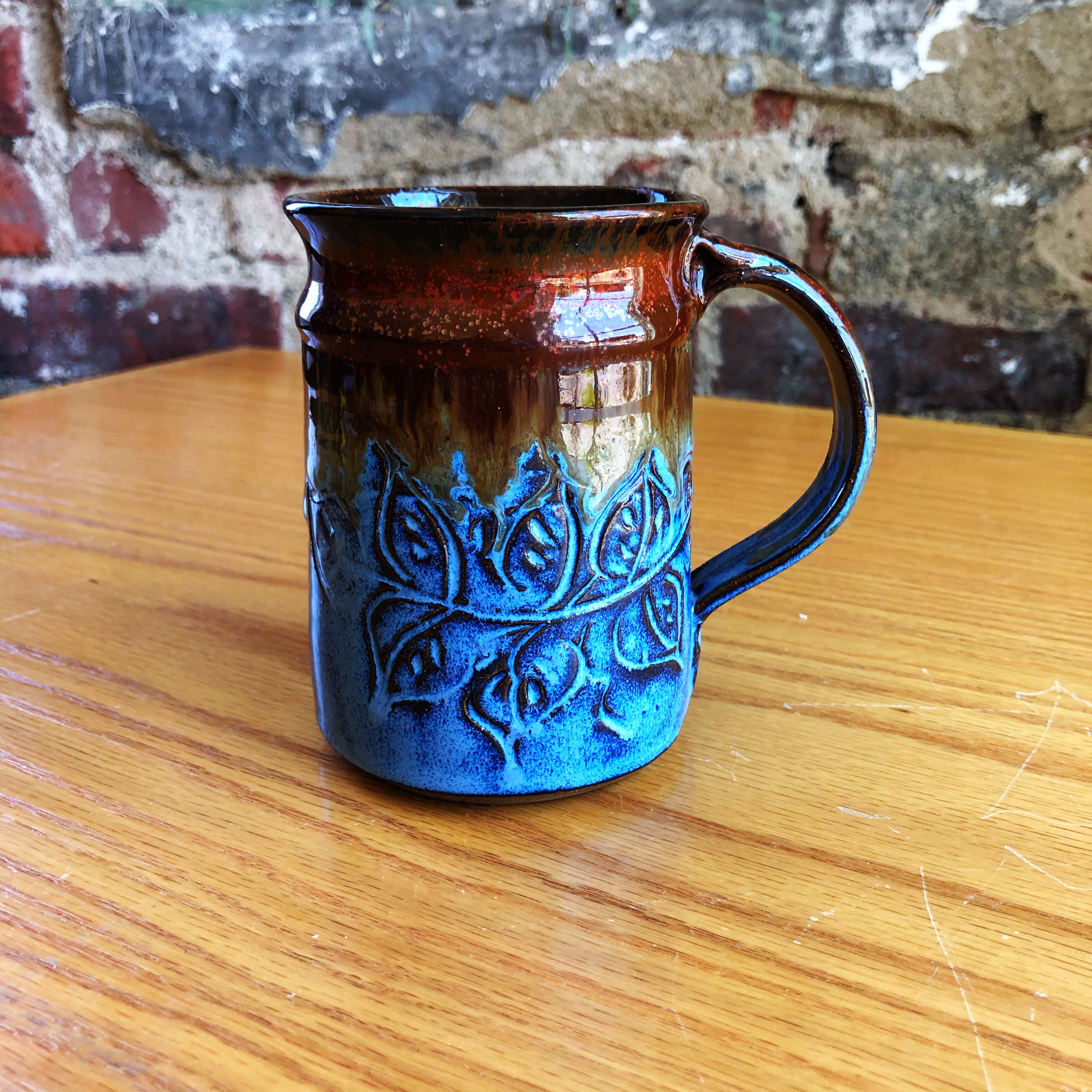 Mt Pleasant Pottery Carved Mug Style 7 Middle Davids Artisan Candles