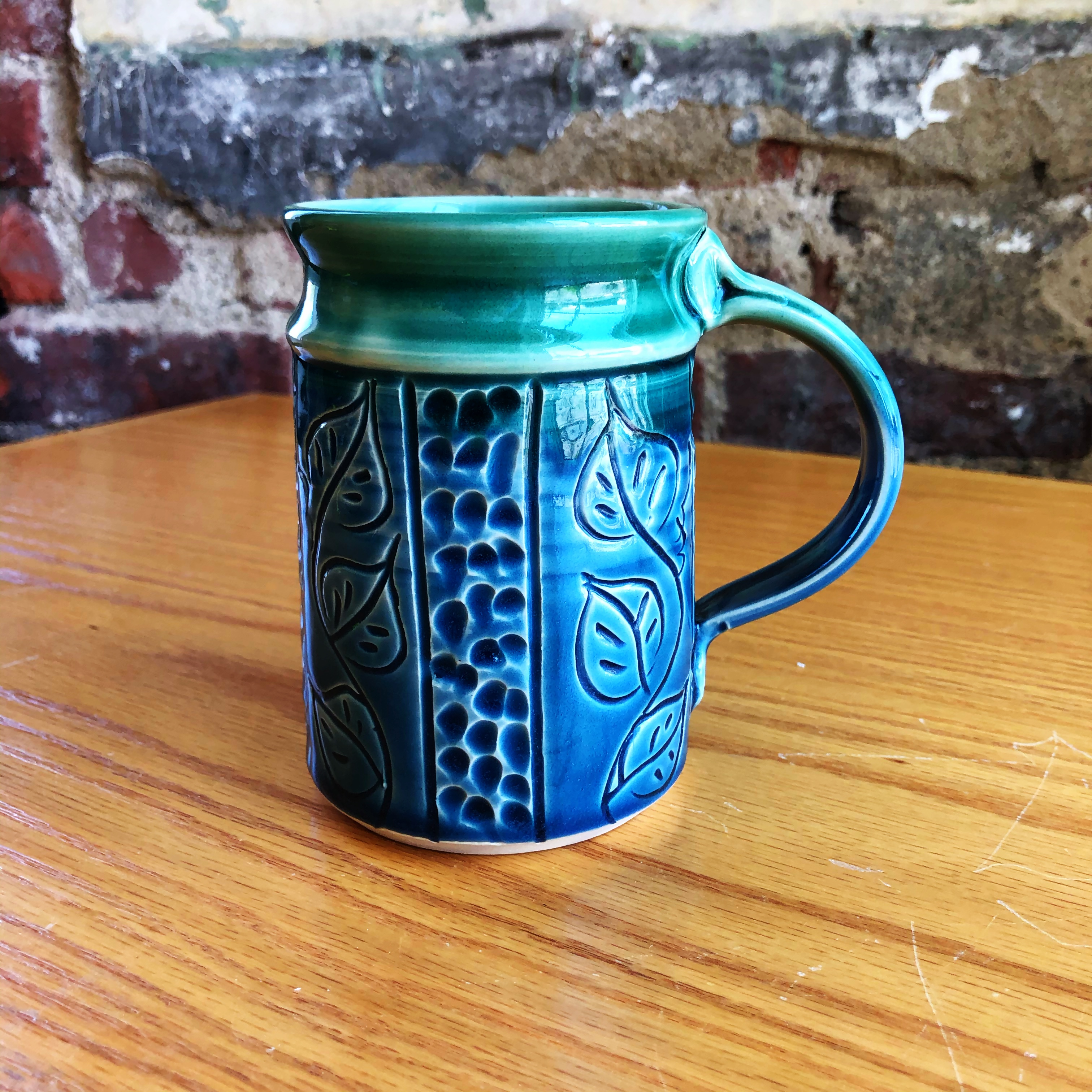 Mt Pleasant Pottery Carved Mug Style 8 Middle Davids Artisan Candles